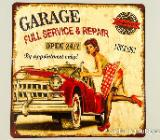 Blechschild Garage Full Service - Pin Up Girl - 30x30 cm - Scheeßel