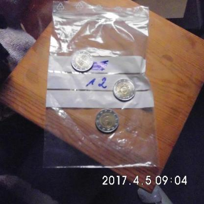 3 Stück 2 Euro Münzen aus drei Ländern Zirkuliert 12