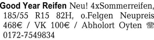 Good Year Reifen Neu! 4×S -