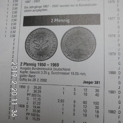 D-Mark 2 Pfennig CU 1965,1966,1967 - Bremen