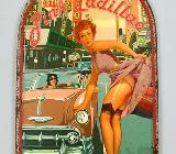 Blechschild Pink Cadillac - Pin Up Girl - 50x32 cm - Scheeßel