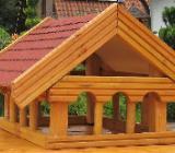 Vogelhaus Landhaus aus Douglasie Dach Rot - Emstek
