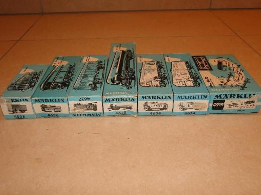 Märklin H0, 7 Waggons, hellblaue Verpackung, 1965-1969