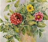 Dahlien mit Holunder - Aquarell 40 x 50 cm Original Ingrid Wolff-Bleekmann - Münster