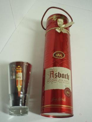 Asbach Uralt Geschenkdose mit Kordel & Schleife und original Asbach Longdrink Glas