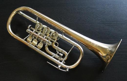 Meister J. Scherzer Profiklasse D - Trompete mit Tonausgleich, Goldmessing inkl. Koffer