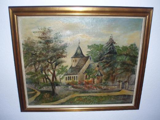 """Bilderrahmen gold/braun/chremeweiß mit Ölgemälde """"kleine Dorfkirche am Wald"""" -- nur Versand möglich"""