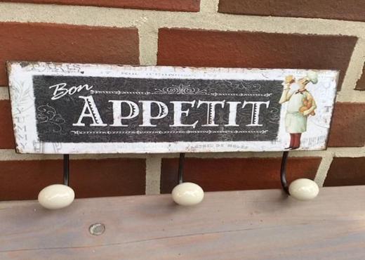"""Retro Wandhakenleiste """"Bon Appetit"""""""