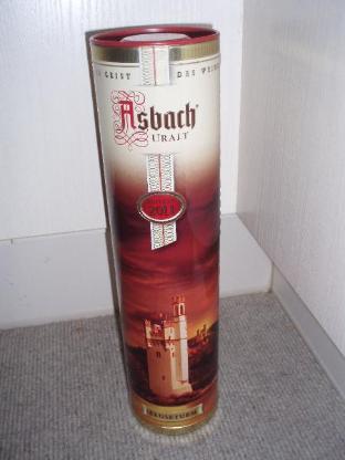 Asbach Uralt Geschenkdose/Sammeldose (Edition 2011 Mäuseturm) mit einem original Asbach Longdrink Glas, beides neu