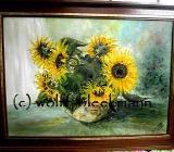 Sonnenblumen Öl auf Leinwand mit Rahmen 81 x 61 cm Original Ingrid Wolff-Bleekmann - Münster