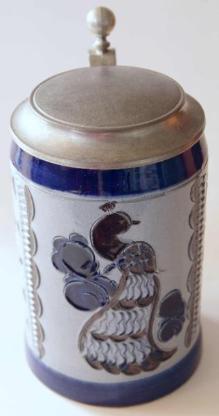 Bierkrug mit Pfaumotiv, Bad Tölz, 60er-Jahre