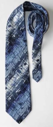 Krawatte, blau-schwarz-weiß meliert. Made in Italy by Romagnoli