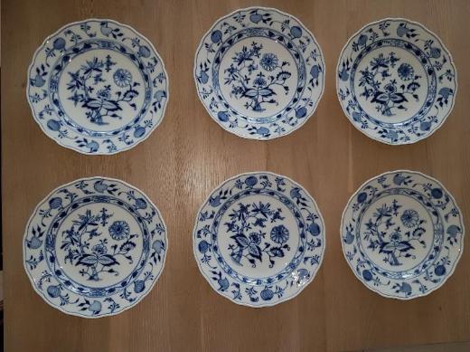 Meissen, 6 Desserteller, 24 cm, Zwiebelmuster, 1815-1924