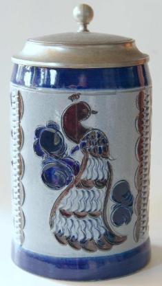 Bierkrug mit Pfaumotiv, aus Bad Tölz, 60er-Jahre