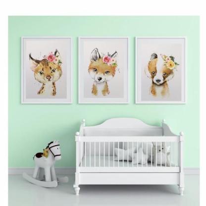 3tlg. Bilderset fürs Kinderzimmer Fuchs, Luchs, Dachs