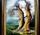 Eichen im Sturm - Öl auf Leinwand 39 x 49 cm mit Rahmen Original Ingrid Wolff-Bleekmann - Münster