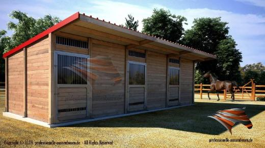 Außenboxen für Pferde, Pferdeställe, Pferdeboxen, Weidehütte, Unterstand, Offenstall