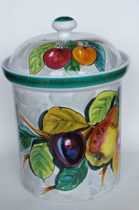 Rumtopf 70er-Jahre, Keramik, sehr schöne Bemalung mit Fruchtmotiven