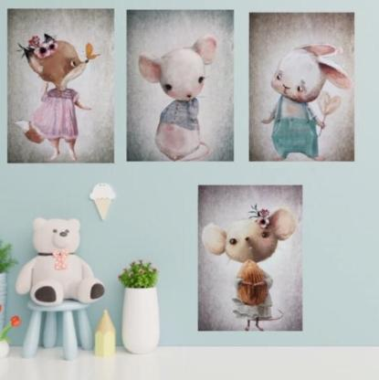 "4tlg. Bilderset fürs Kinderzimmer ""LittlMouse"""
