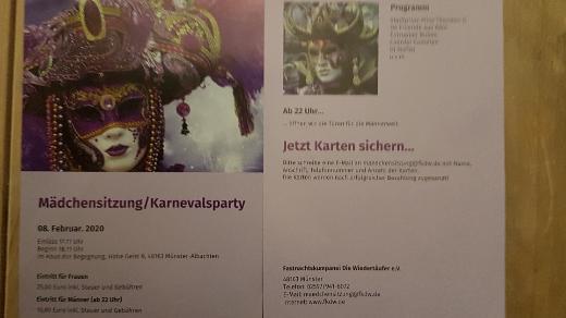 Mädchensitzung/ Karnevalsparty am 08.02.2020