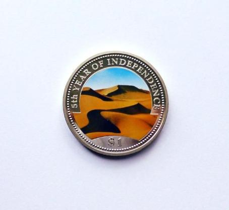 Namibia 1995 >> Large Color Coin >> 1$ - Desert Sands   /   TOP