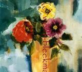 Blumen mit Vase - Acryl auf Leinwand 40 x 50 cm Original Ingrid Wolff-Bleekmann - Münster
