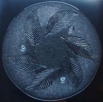 Glas-Platte, Kuchen-Platte, mit Blattmotiven