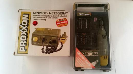 Proxxon Minimot-Netzgerät plus Feinbohrschleifer und Maschinenschraubstock, gebr., Top Zustand
