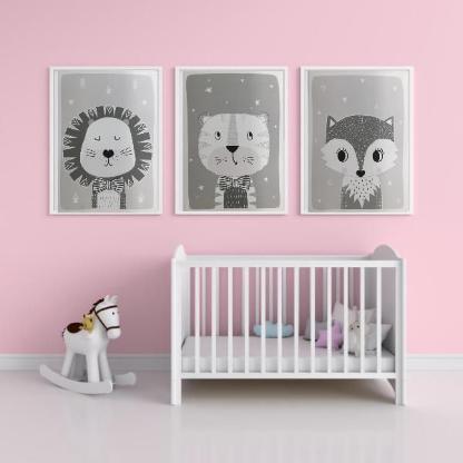 3tlg. Bilderset fürs Kinderzimmer  Löwe, Tiger und Fuchs