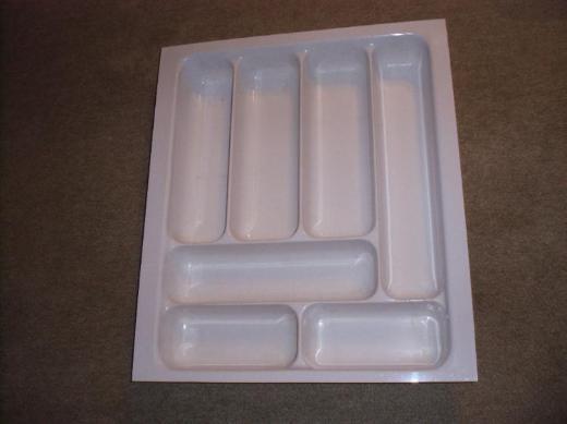 Besteckkasteneinsatz, 50,3cm x 43,3cm x 6,6cm hoch, weiß, gebraucht, kürzbar