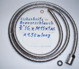 """Geschirr- Brauseschlauch Edelstahl 1/2"""" IG x M15 x1 AG, x 1,50 m lang - gebraucht - Münster"""