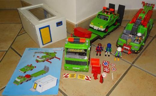 Playmobil Schwertransport mit Kran, Jeep & Garage 4084 SELTEN!!!