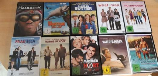 je DVD 1€ : Honig im Kopf, Vaterfreuden, Türkisch für Anfänger, Frau Ella, What a Man , Hancock,Horten hört ein Hu, Alles in Butter