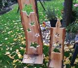 Adventsdeko, Holzdeko, Holzstelen für den Garten - Steinfurt